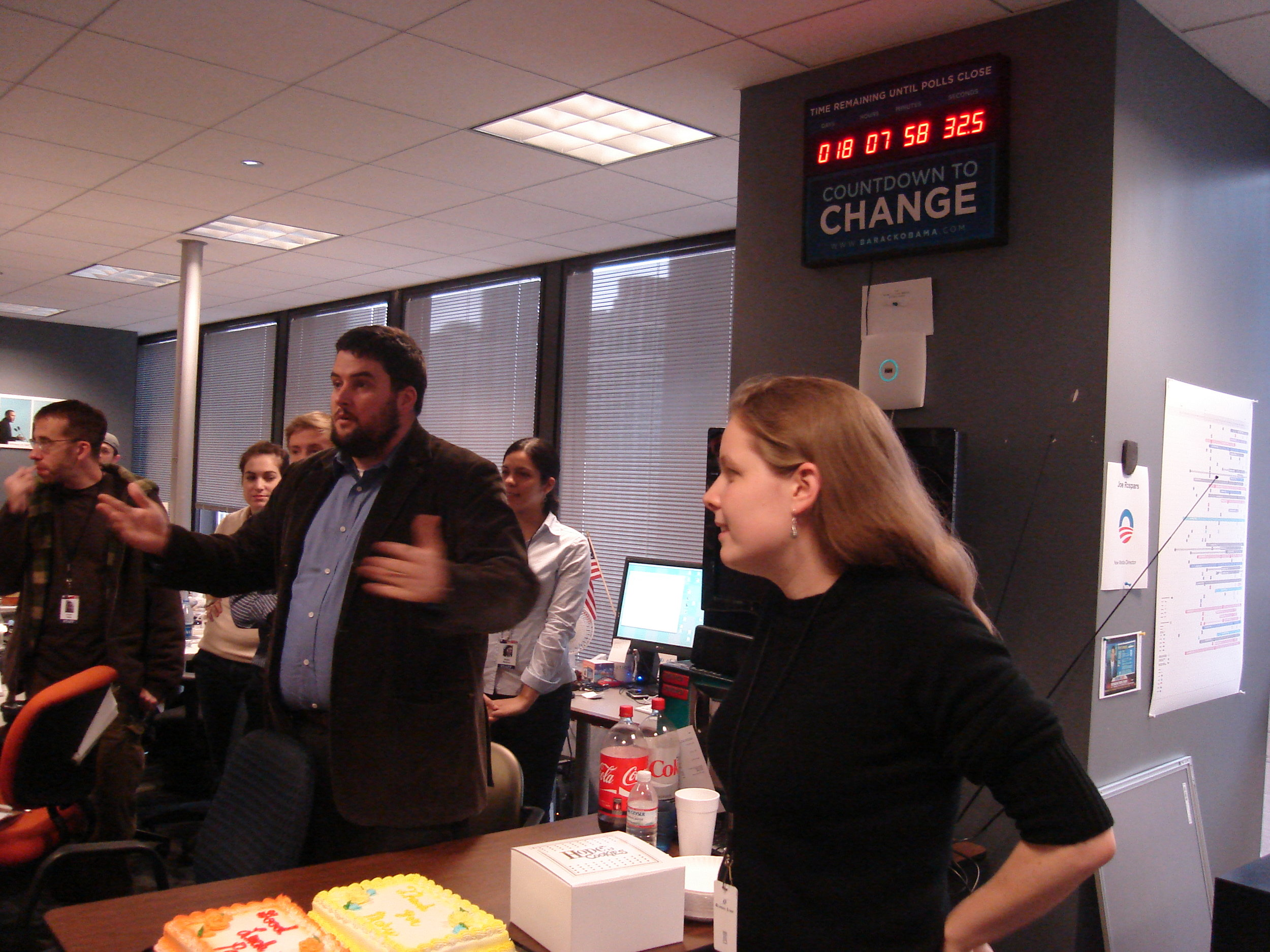 With New Media Deputy Director Macon Phillips and the Election Day countdown clock at Obama HQ (Chicago, 2008)