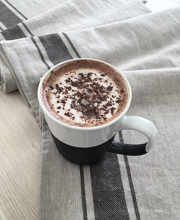 3. Hug In A Mug - A hot drink is like a hug from the inside... well that's what we like to think! With your favourite drink (ours is a hot chocolate) wrap your hands around the mug and go to your favourite place to relax!(Featuring our Charcoal Tall Stoneware Mug)