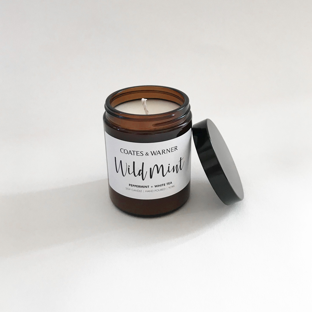 WILD MINT (PEPPERMINT + WHITE TEA) - It's like having a fresh pot of garden mint in your home! A combination of peppermint and spearmint,infused with a hint of white tea. The perfect candle for your kitchen!