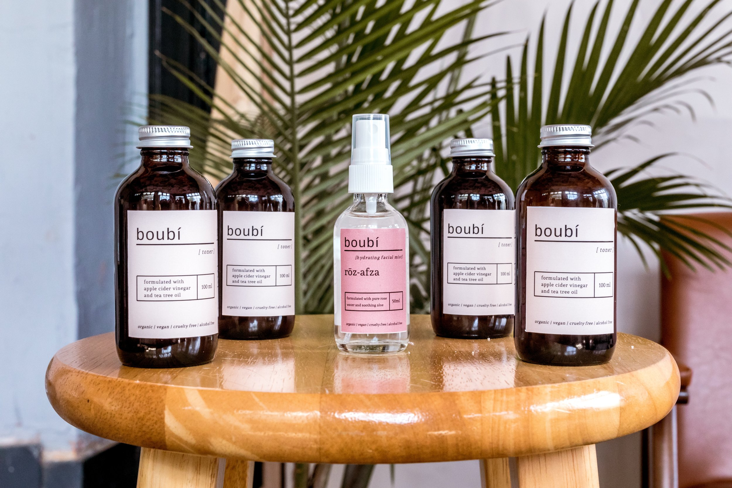 Boubí product line switching to glass bottles to reduce plastic waste.