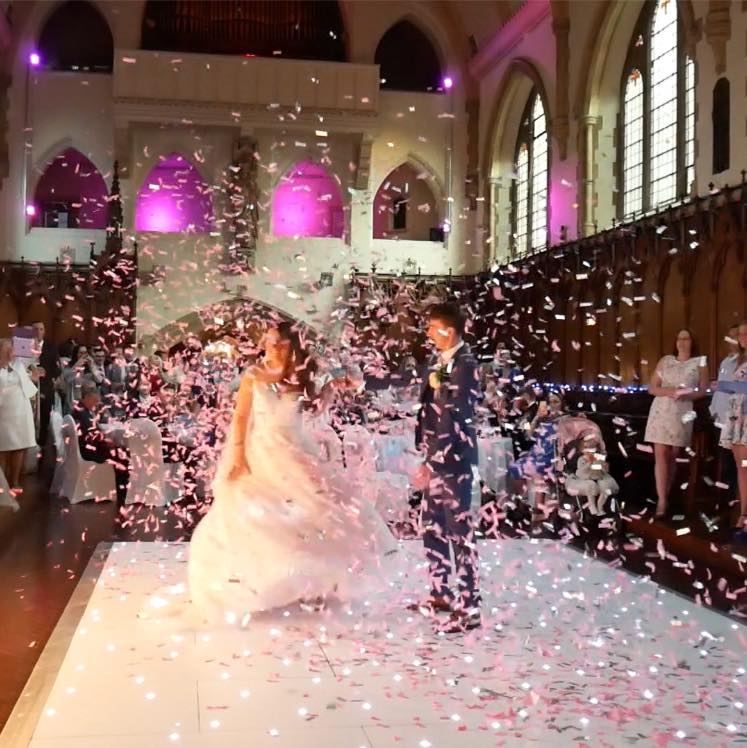 Confetti Experience + Sparkly White Dance floor at St Augustine's, Westgate on Sea, Kent
