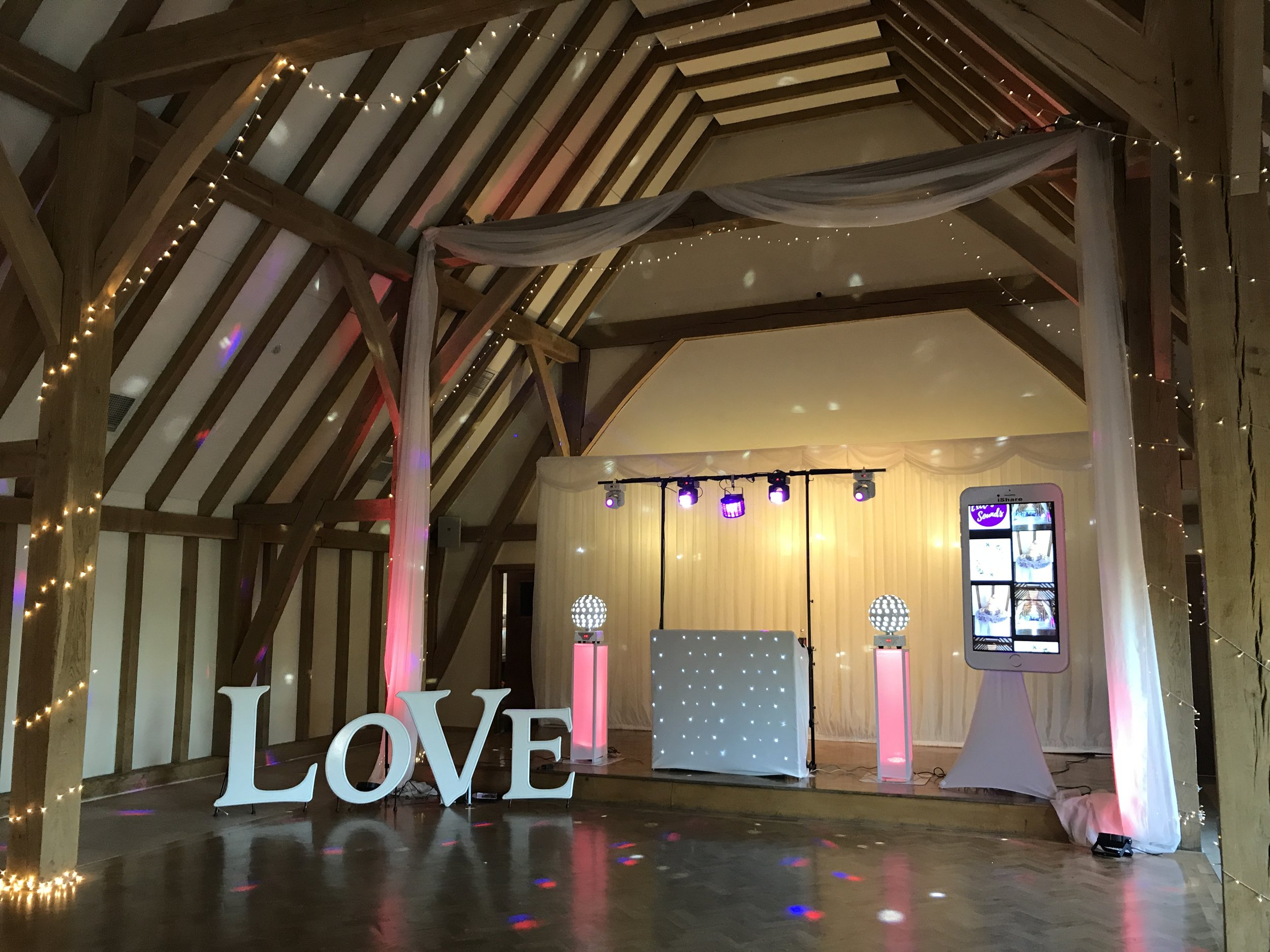 Bespoke 3 feet Love letters at The Old Kent Barn, Swingfield, Folkestone - pictured with DJ & iShare package