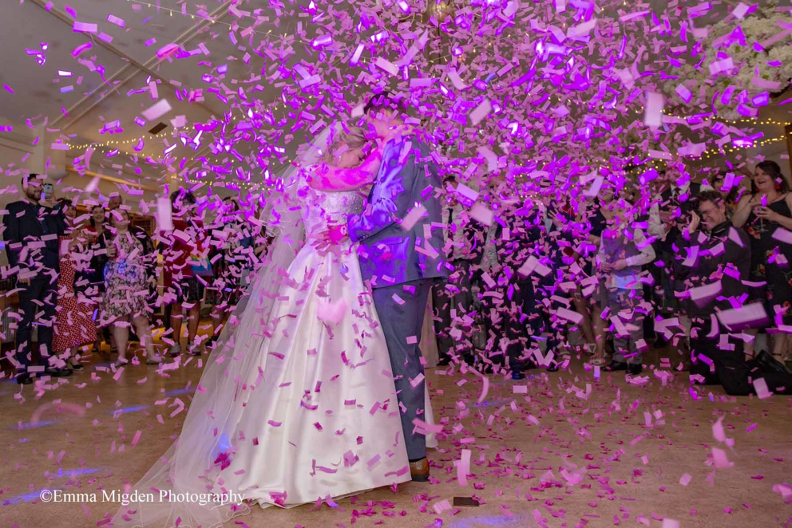 The fabulous Gemma & Brandon got married at Quex House, Birchington on Sea, Kent.  The Confetti Experience captured by the amazing Emma Migden Photography www.emmamigdenphotography.com Further images at http://www.emmamigdenphotography.com/quex-park-wedding-gemma-brandon/