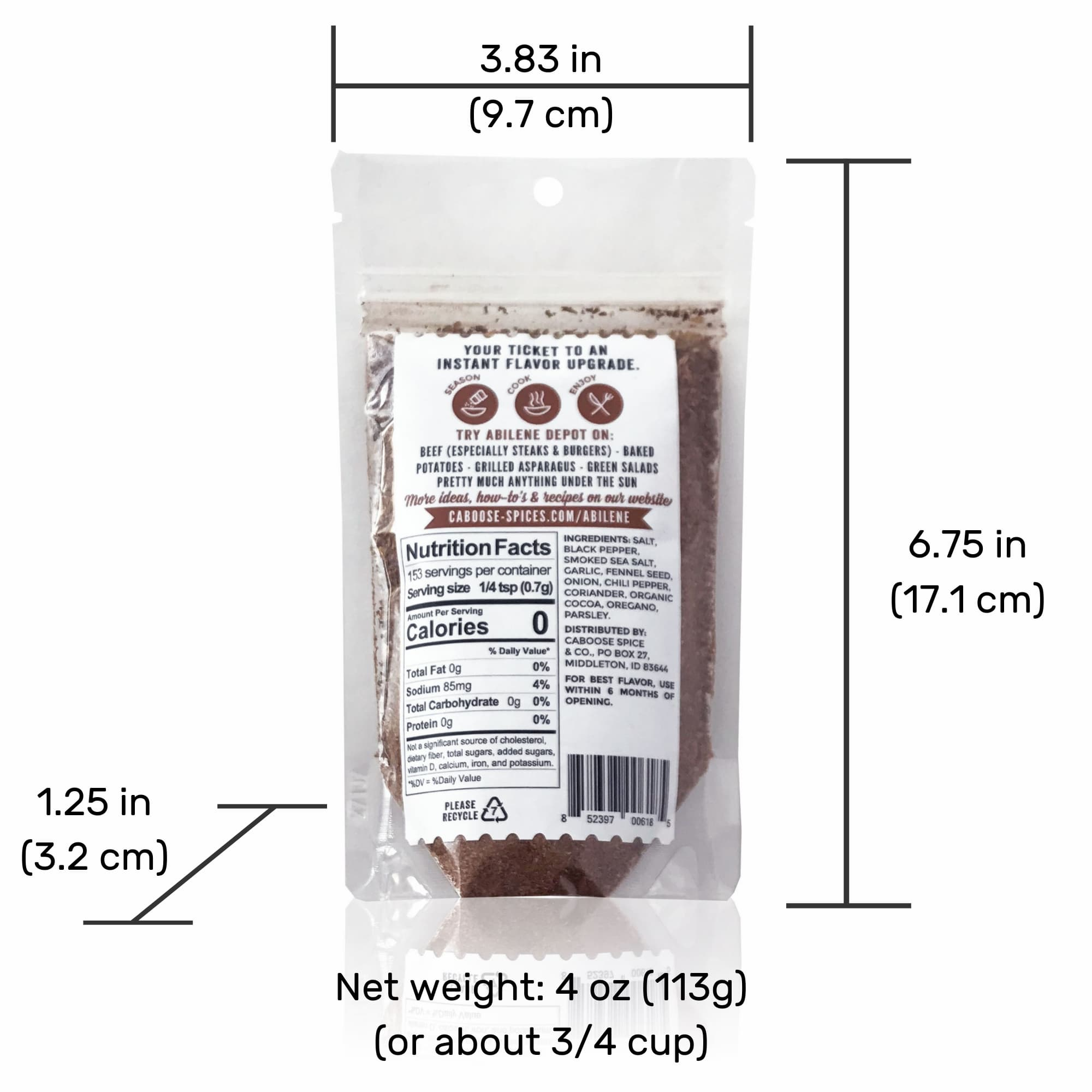 Abilene Depot 4 oz pouch back rear label nutrition facts ingredients barcode dimensions.jpg