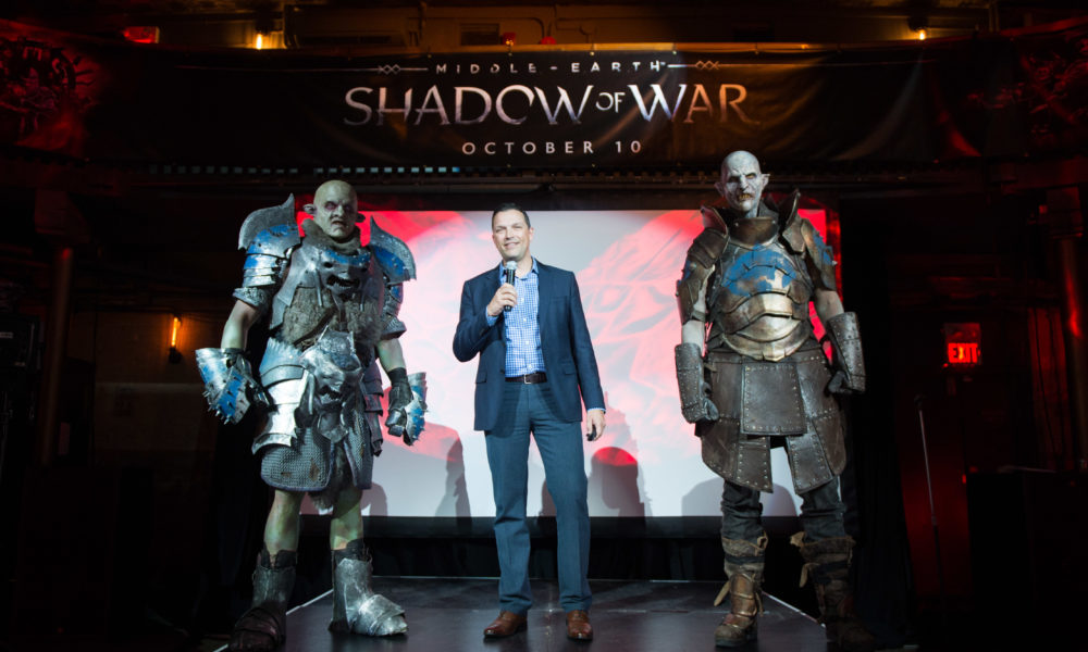 Aksel Lielmanis, executive director of marketing at WB Entertainment Canada, opening the event accompanied by orcs. (Photo by Evan Bergstra)