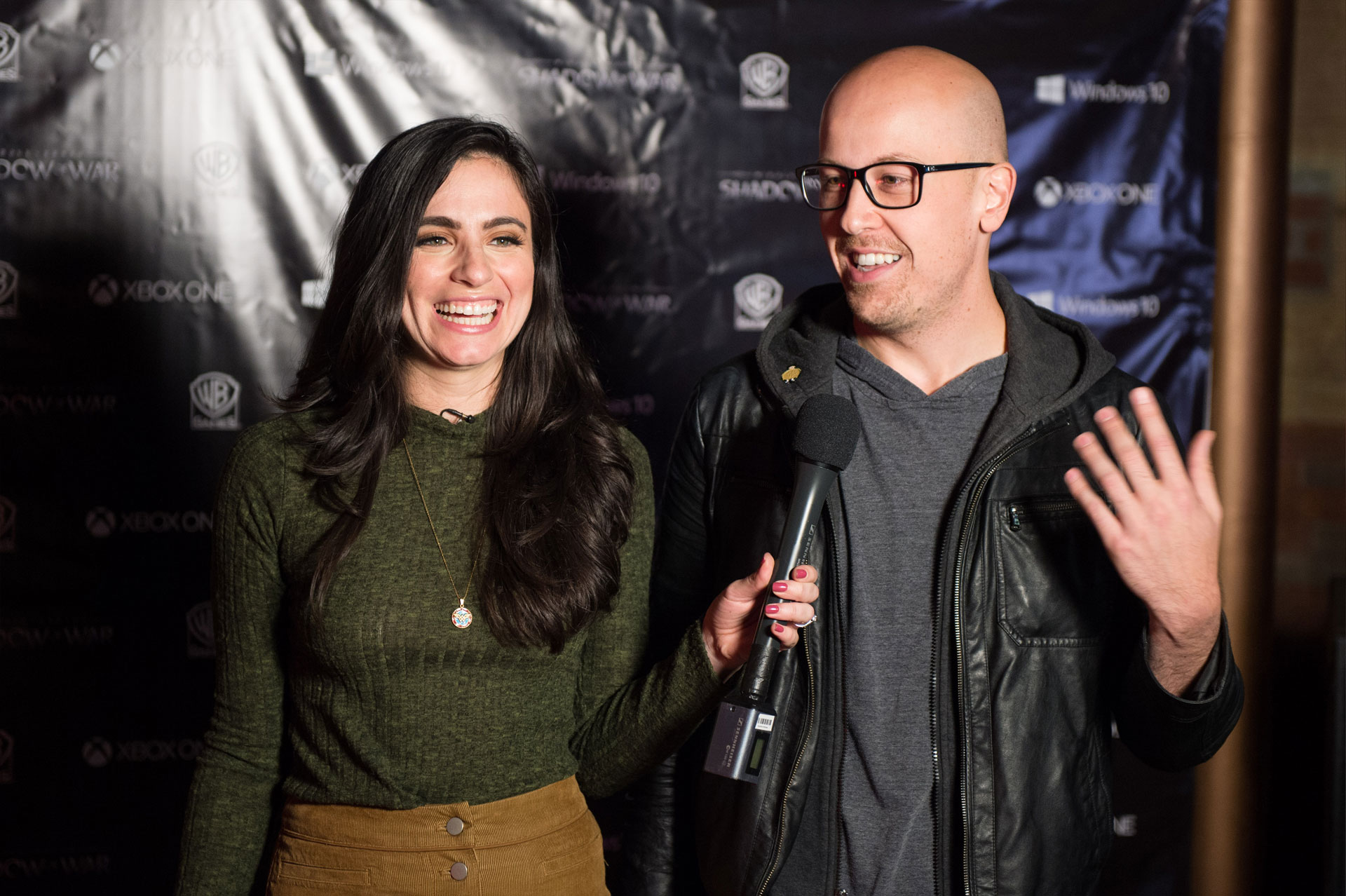 Monolith spokesperson, Andy Salisbury, interviewed by Marissa Roberto, host of XboxAllForOne. (Photo by Evan Bergstra)