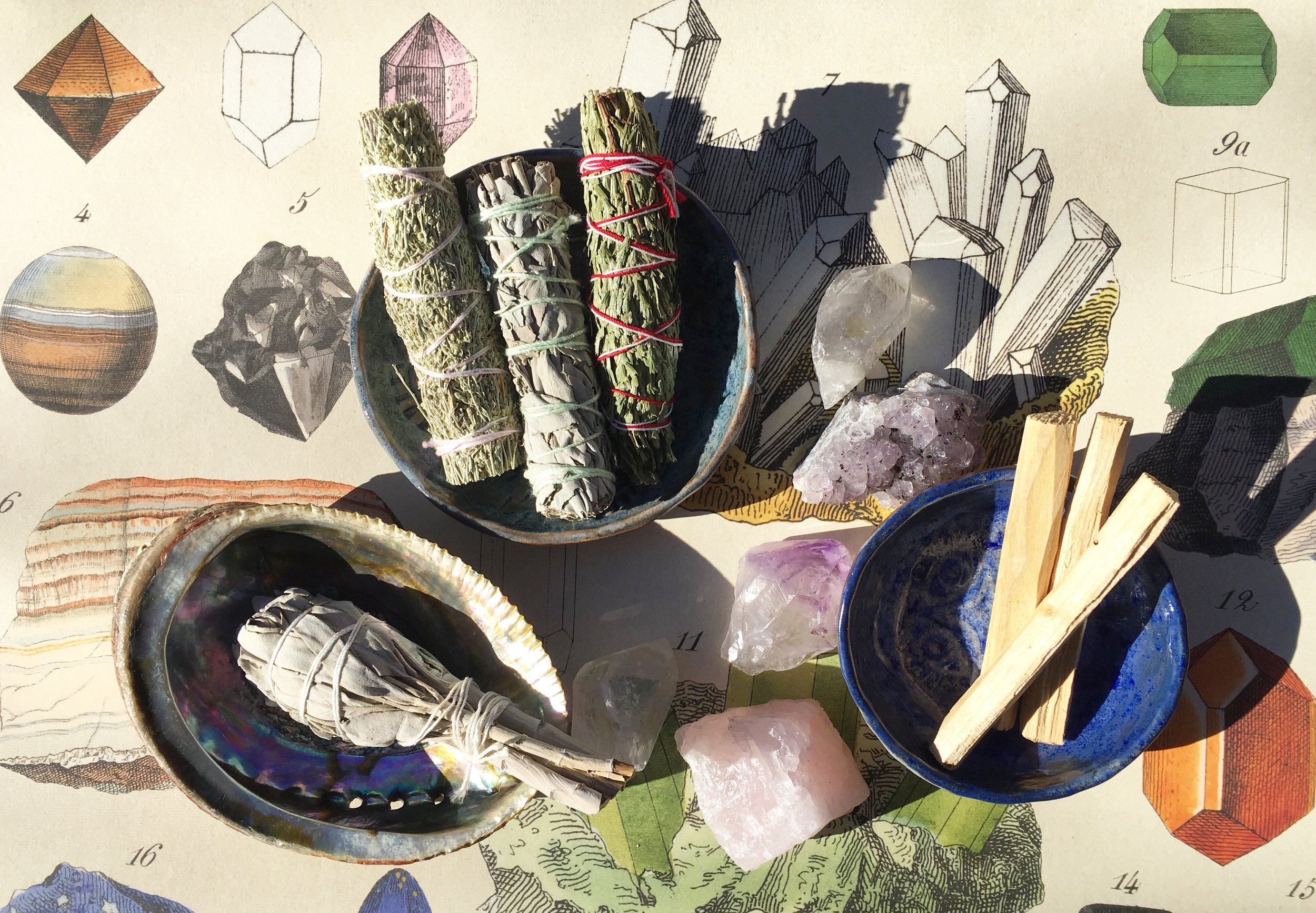 mineralogy paper by Cavallini Papers / California blue sage + white sage / palo santo wood / abalone shell / rose quartz / clear quartz / amethyst