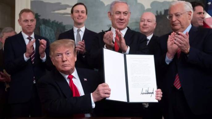 AFP: Trump And Netanyahu Show Presidential Decree Changing US Policy by Recognizing Israeli Sovereignty Over Syrian Golan Heights