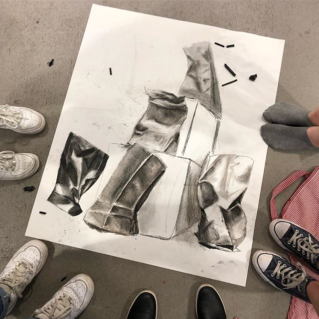 Collaborative charcoal drawing with my Portfolio Development Class last night @nassaumuseum @the_manes_center