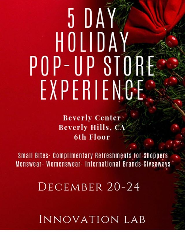 WHAT: Amaré Magazine and Innovation Lab (Powered by Ariel Tinsey of @blacksaltpr & Jaclyn Milford) present The Official 2018 Holiday Red Carpet Pop-Up Shop at Beverly Center  WHO: Shabeeg, Amalfii, L.A. Society, Anet's Collection, Imperfection Studio Collection, Venicci Apparel, Hand & Rose, elle n' dee, David Sabastian(Live Painter), Ashton Vines (Live Saxophone Musician)  WHEN:  December 20- 9 a.m. to 10 p.m. December 21- 9 a.m. to 10 p.m. December 22- 9 a.m. to 10 p.m. December 23- 9 a.m. to 10 p.m. December 24- 10 a.m. to 6 p.m.  WHERE: Beverly Center 6th Floor – Space 621 (Directly across from Hugo Boss) 8500  Beverly Blvd Los Angeles, CA 90048  For more information email info@blacksaltpr.com 🎄Swipe to see opening day itinerary 🎄  @ Beverly Center