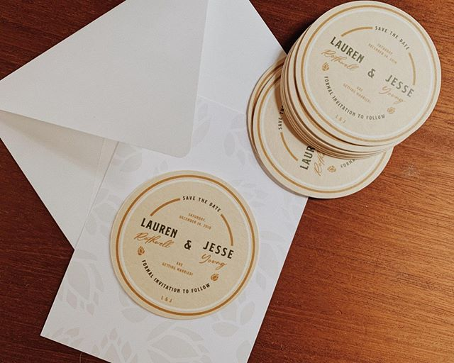 These save the dates went out yesterday and I couldn't be more excited for Lauren's guests to receive them!   She wanted coasters as save the dates, so that's what we did! Design takes creativity, but it also takes some logistical thinking (because you can't just throw a coaster in an envelope and call it good, surprisingly.)  I created custom patterned cardstock to match of course + we attached the coasters with some @gluedots so they can be removed easily and used!   With matching (unpictured) return address labels, this really ended up being the full package. Once again, client ideas coming through and turning out AWESOME.   And... the invitation suite is in the works! Maybe it will be cooler than the coasters, who's to say. You'll find out eventually. 😏🖤  Anyone else obsessed with this idea? 🙋🏽 I SURE AM!  〰️  Like this idea? DO IT! (I'll help if you need it!) coasters: @stickermule cardstock+labels: designed by me, printed locally envelopes: @envelopes gluedots: @gluedots  〰️  #customsavethedates #weddingpaperdesign #graphicdesignwestmichigan #coasters #stickermule #gluedots #graphicdesignersclub #modernsavethedates #moderninvitations #alternativesavethedates #alternativebride #beerbride #brewerywedding #katiemakessavethedates #fridays  