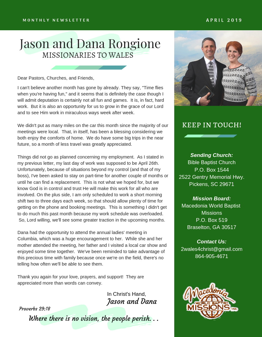 Rongione April Prayer Letter.png