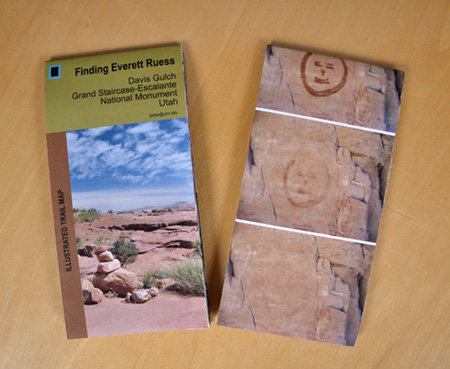 """Finding Everett Ruess, Davis Gulch, Grand Staircase-Escalante National Monument, Utah , illustrated folded sheet map, four-color offset print, 32""""w x 24""""h (unfolded), 3""""w x 8""""h (folded), 2013."""