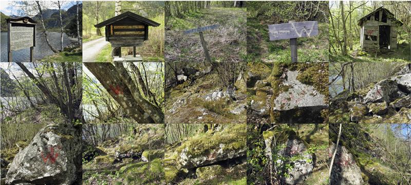 Jan Estep,  Signs en route to Wittgenstein's Hut, Norway , 2007, photographic digital inkjet print, 22″h x 48″w.