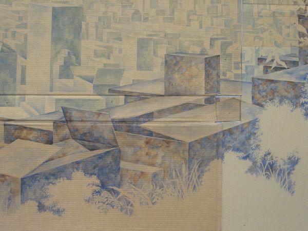 David Lefkowitz, detail of  Vista , 2008, watercolor on cardboard.