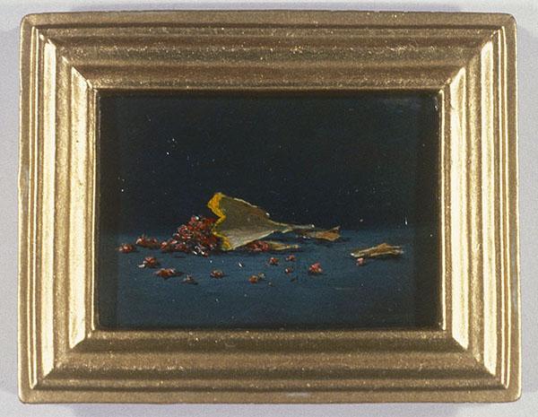 "David Lefkowitz,  Pictures of Common Detritus, Pencil Shavings,  2000, oil on wood, 2.25"" x 2.75""."
