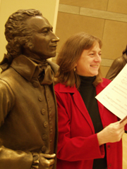 Studying my score to  A Matter of Honor  with the statue of Alexander Hamilton in the National Constitution Center in Philadelphia. The premiere was at the NCC by Astral Artistic Services.
