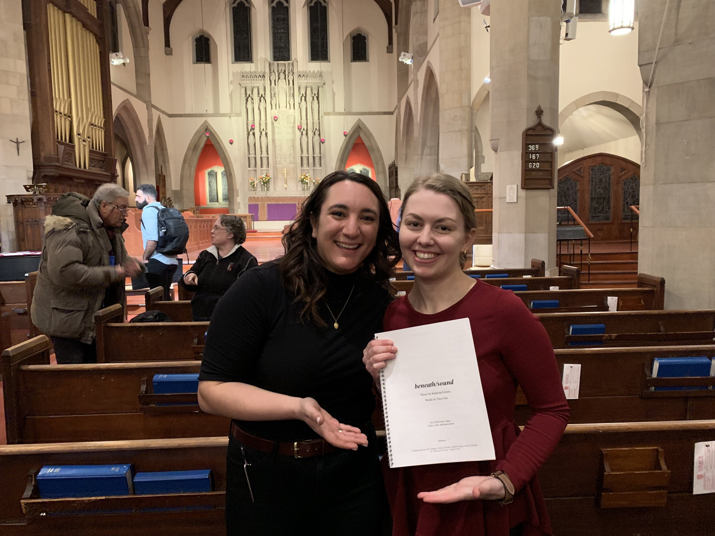 """Elise and Katerina Gimon, Myriad Composer in Residence at Orpheus Choir of Toronto March 8 2019 """"Raising Her Voice"""". Elise conducted the premier of Katerina's composition  beneath/sound  (take a listen on the listen page!)."""