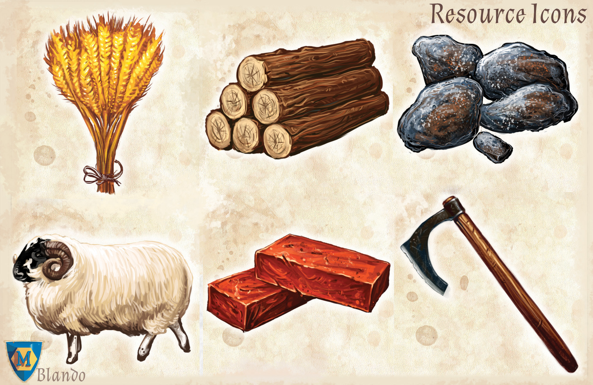 A Game of Thrones: Catan - Resource Icons Detail