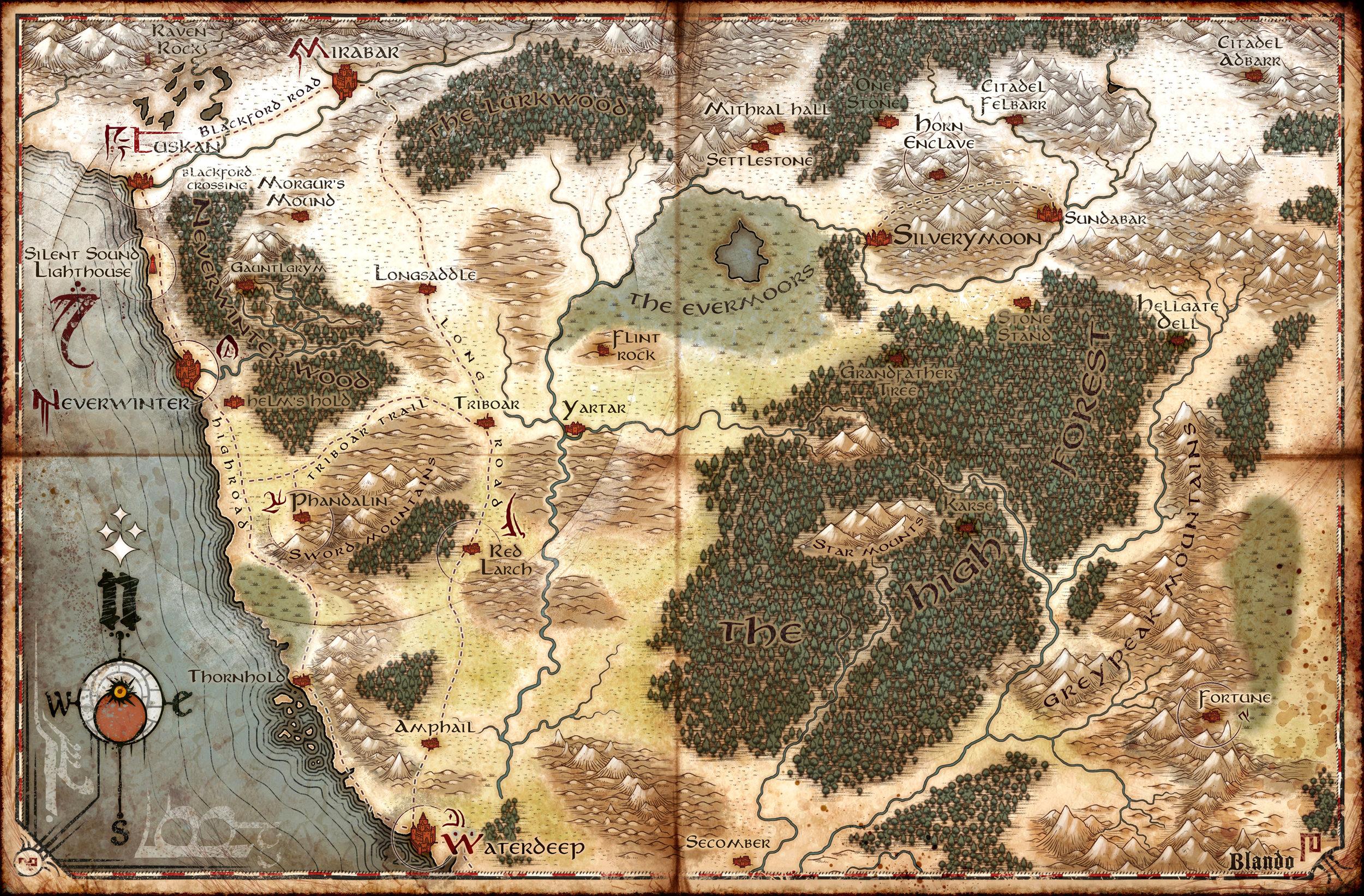 A map of NE Faerun