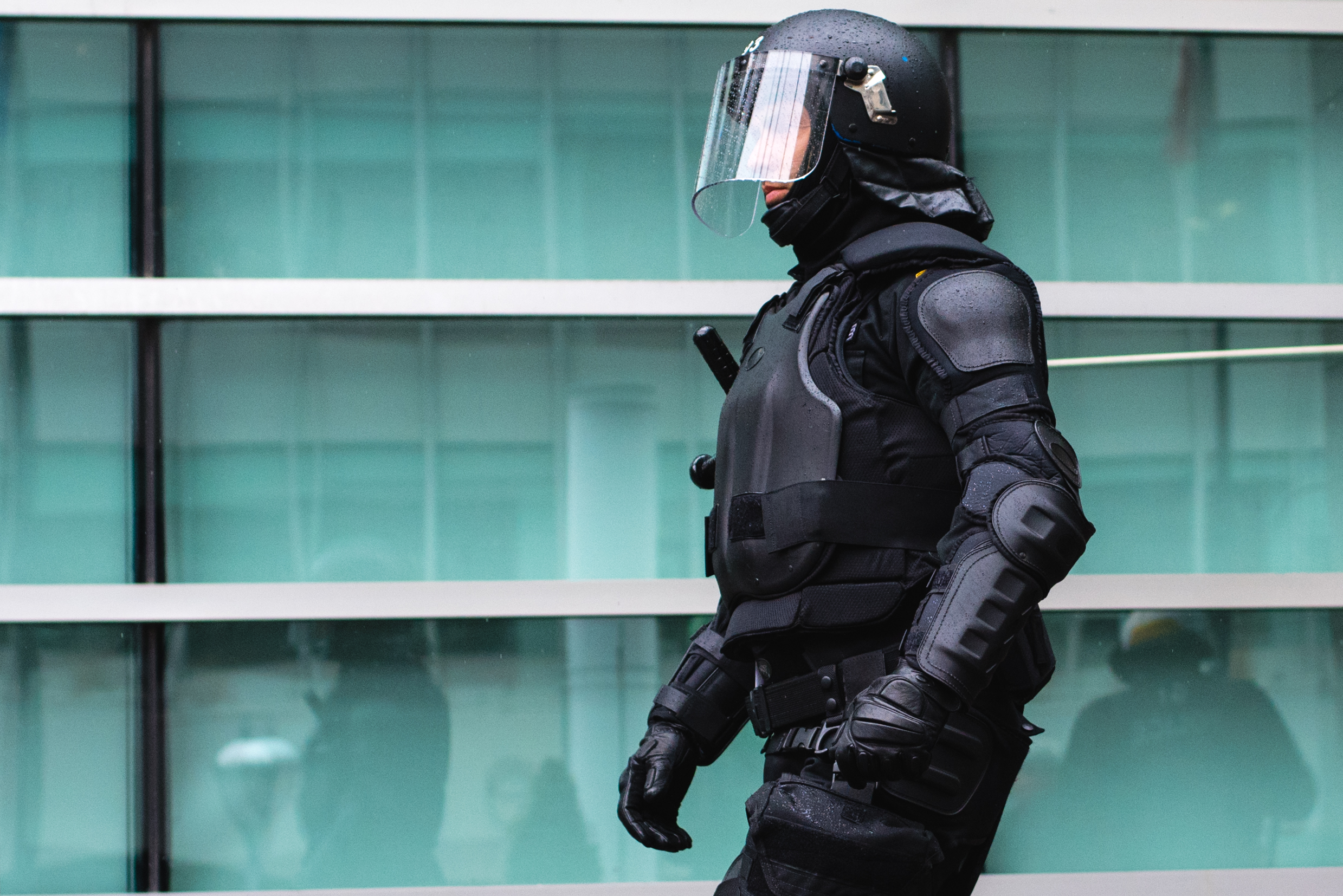 A police officer from foreign headquarters following a crowd control training with Montreal police forces.