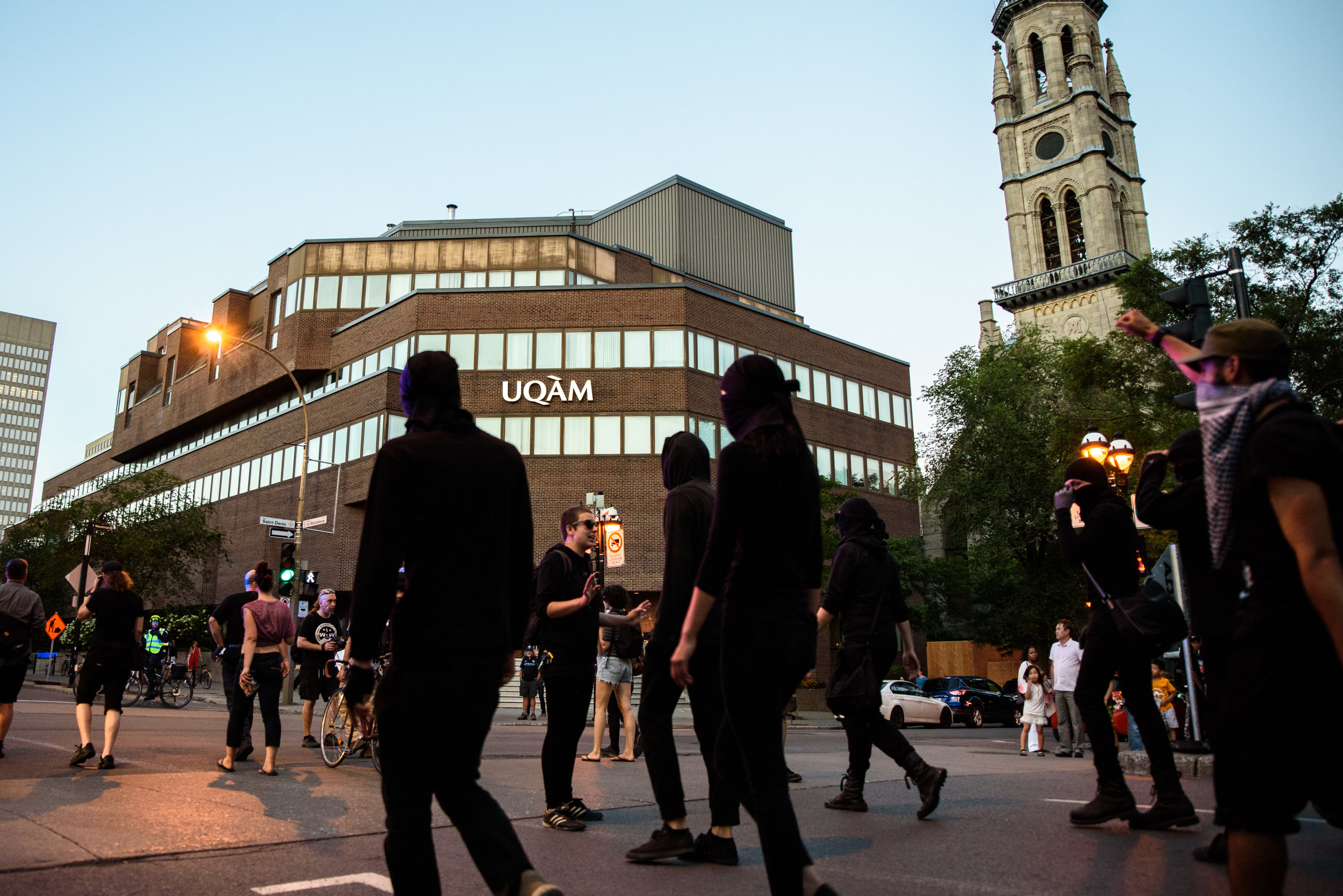 Black Bloc protesters in front a UQAM, a university well known in Montreal for the militancy of it's left leaning student associations.