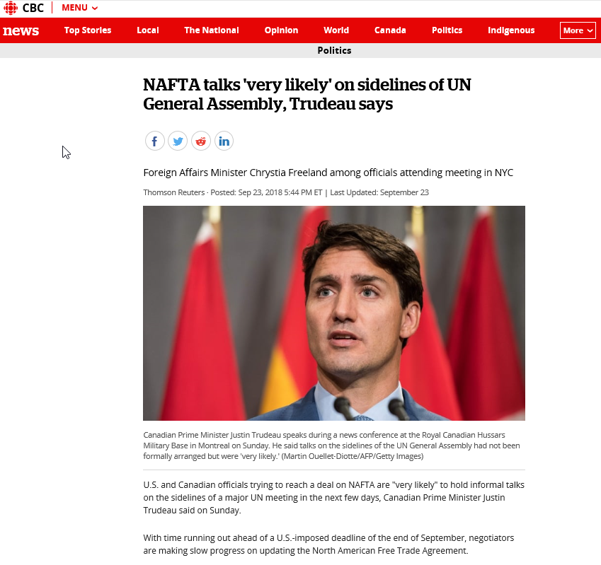 2018-10-02 16_47_17-NAFTA talks 'very likely' on sidelines of UN General Assembly, Trudeau says _ CB.png