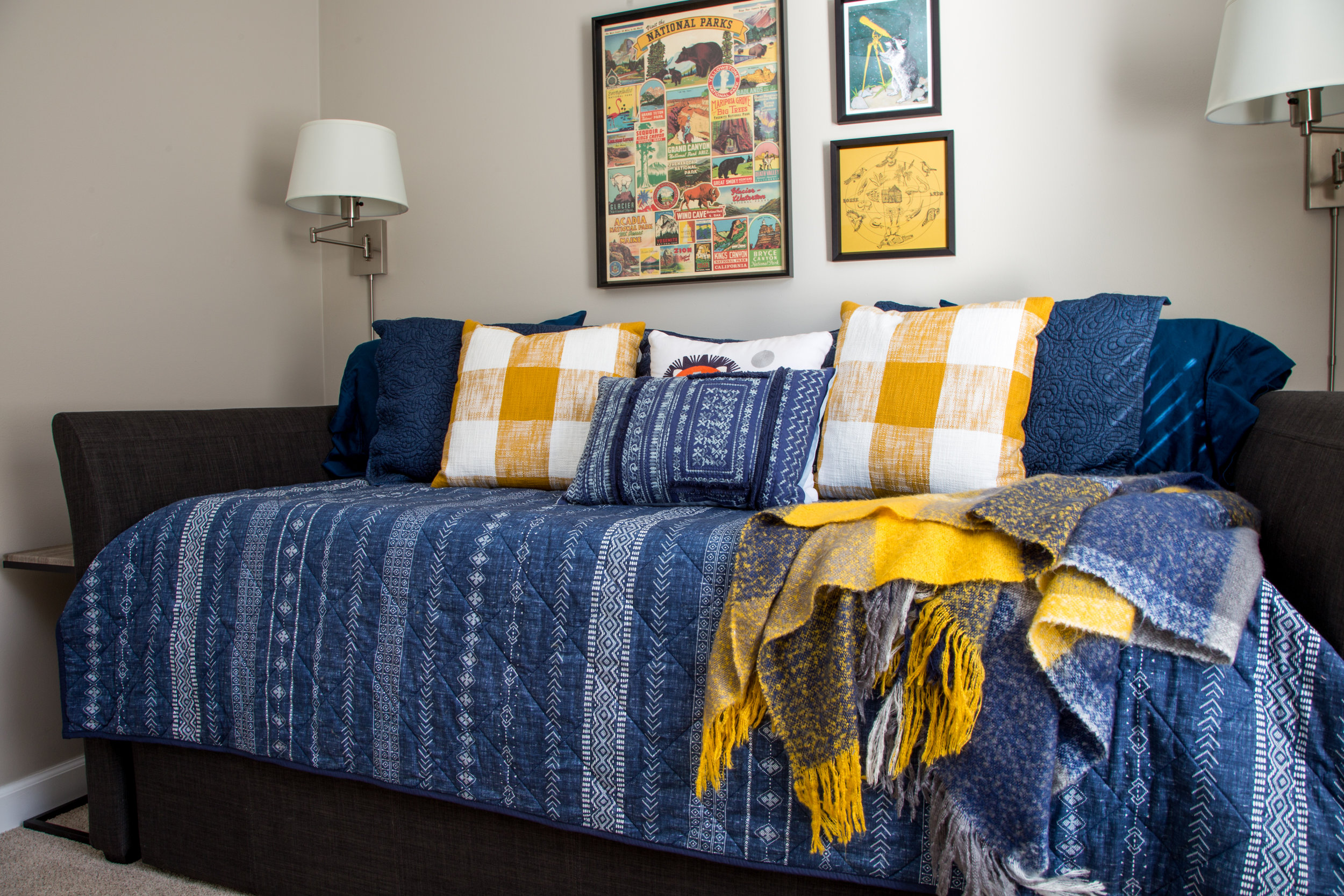 Large, comfortable daybed in the third bedroom also can also serve as seating for a den or play area.