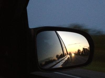 でも逆方向だから夕陽は後ろに