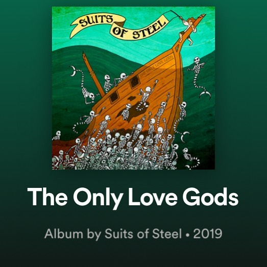 "Go listen to my band's new album ""The Only Love Gods""  by @suitsofsteel ... available on all streaming platforms right now! We have been working on this for the past two years and are super excited it's finally out! Please give it a listen and let us know what you think."