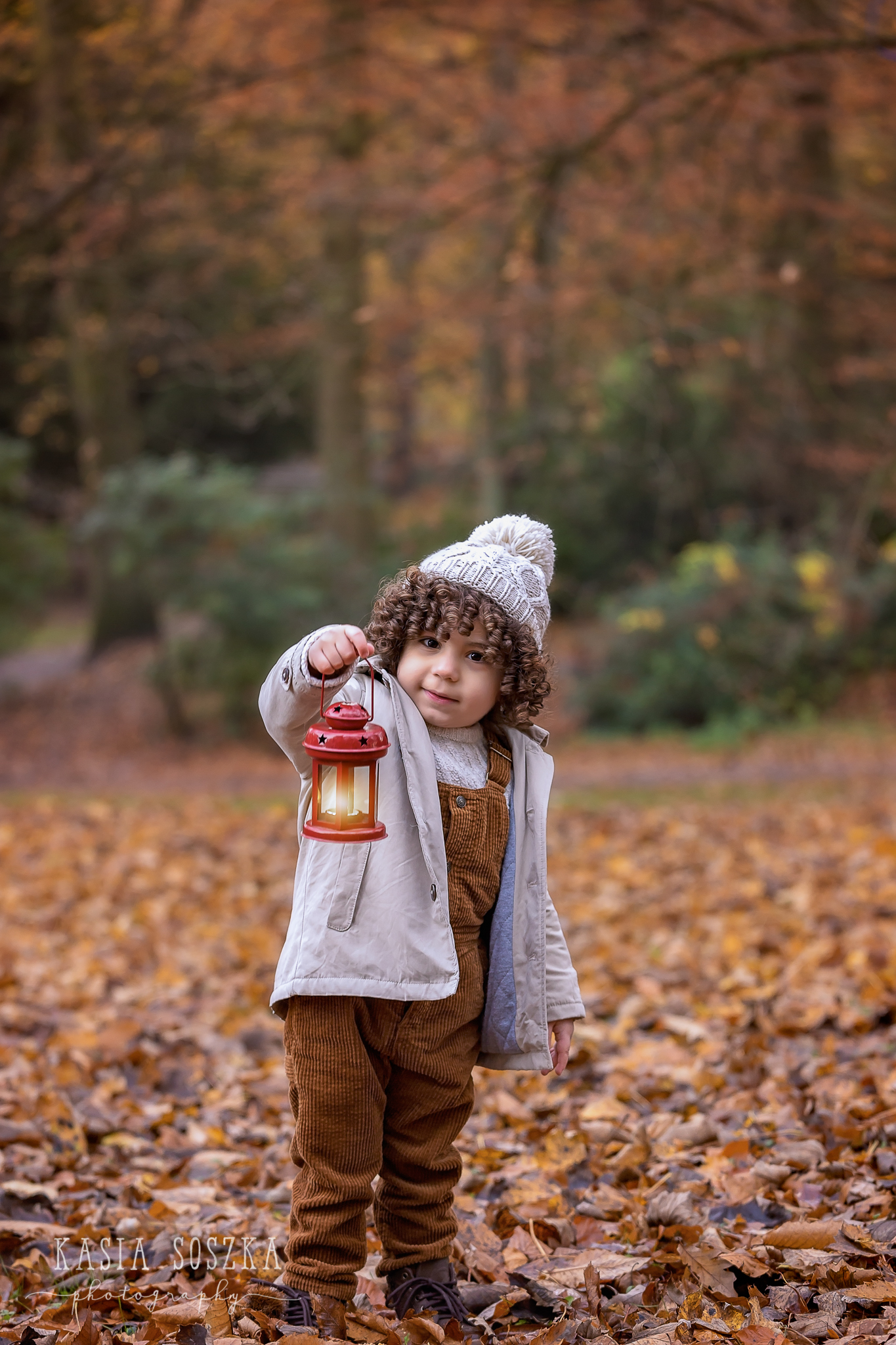 Child session in Leeds: cute little boy holding a red lantern in a park covered in Autumn Leaves