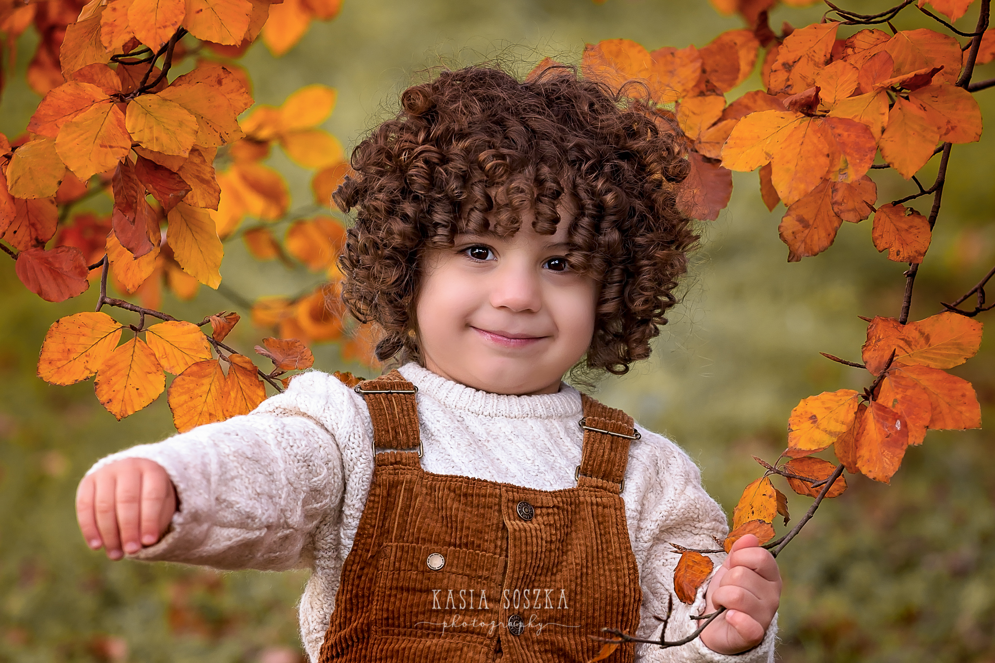 Leeds children photography: cute little boy with dark curly hair holding a branch of autumn leaves.