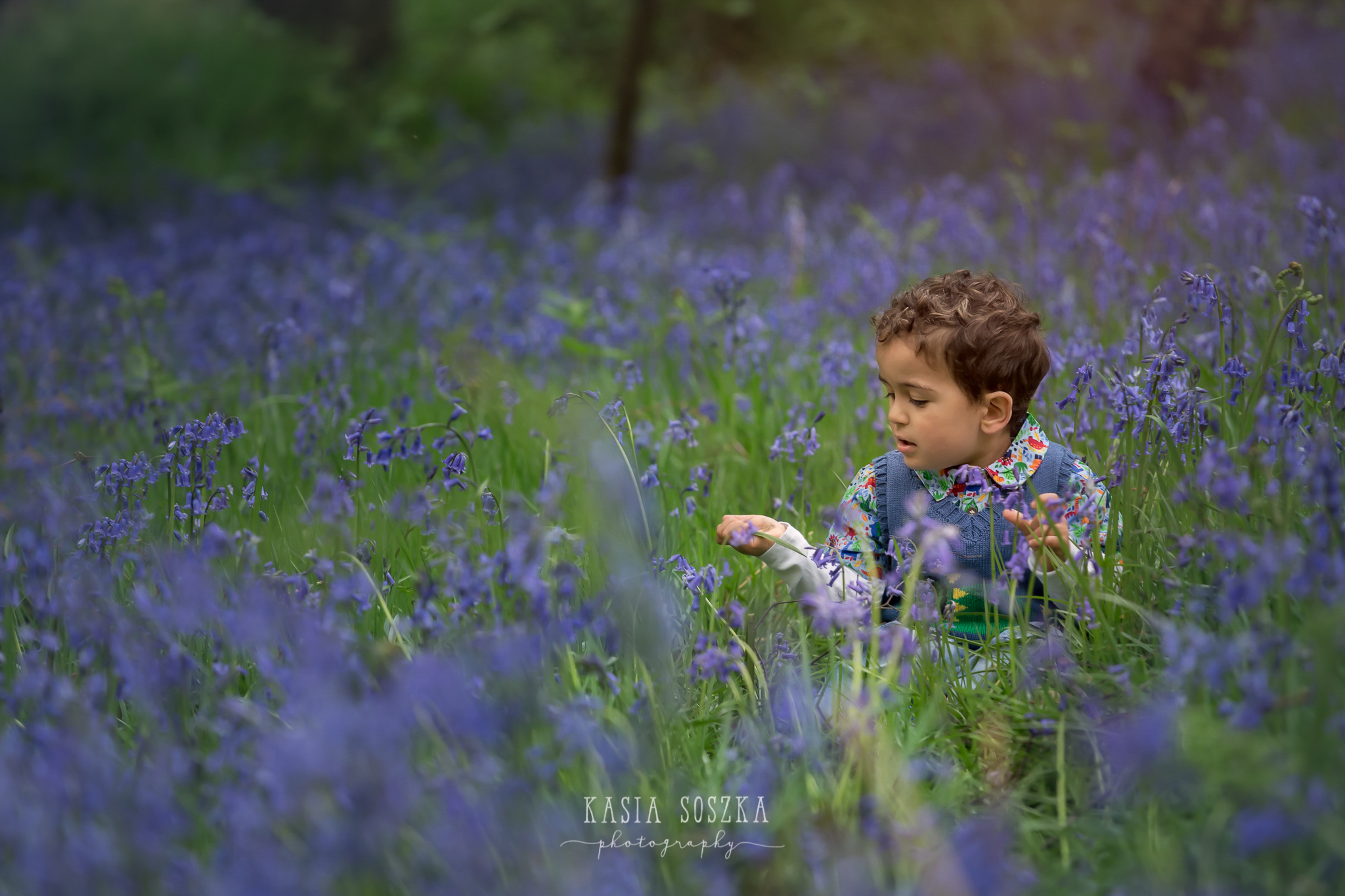 Leeds child photography: little boy with dark curly hair sitting in the middle of bluebell patch
