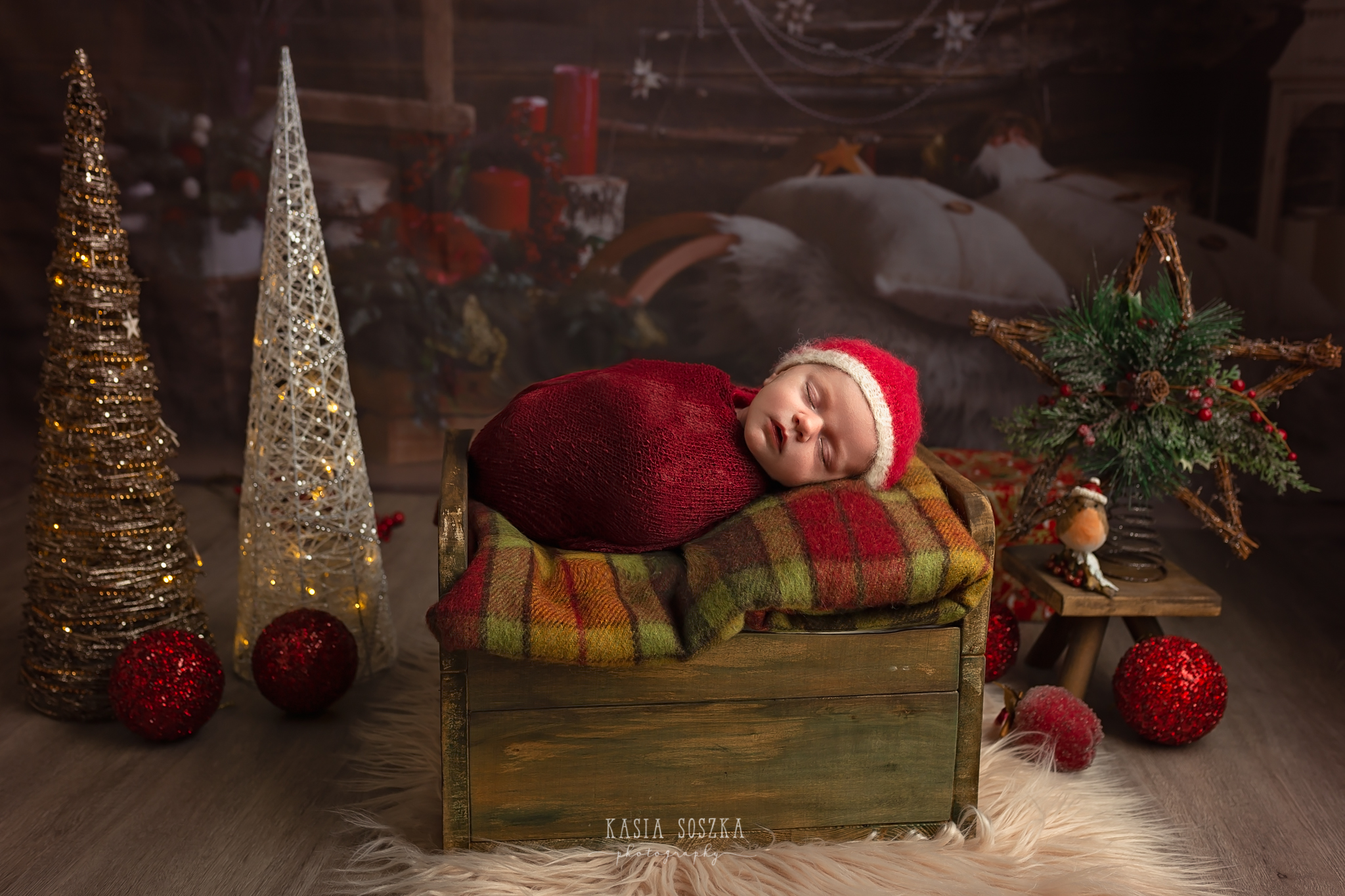 Newborn photography in Leeds near Bradford, York and Harrogate: cute newborn baby girl's Christmas session