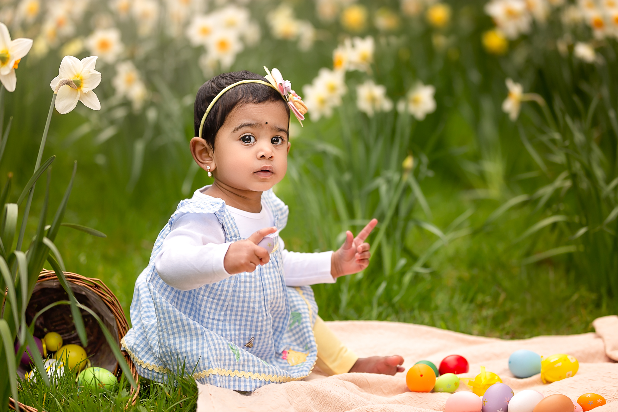 Baby photography Leeds, York, Harrogate, Bradford: Easter theme outdoor baby session in Leeds, Yorkshire