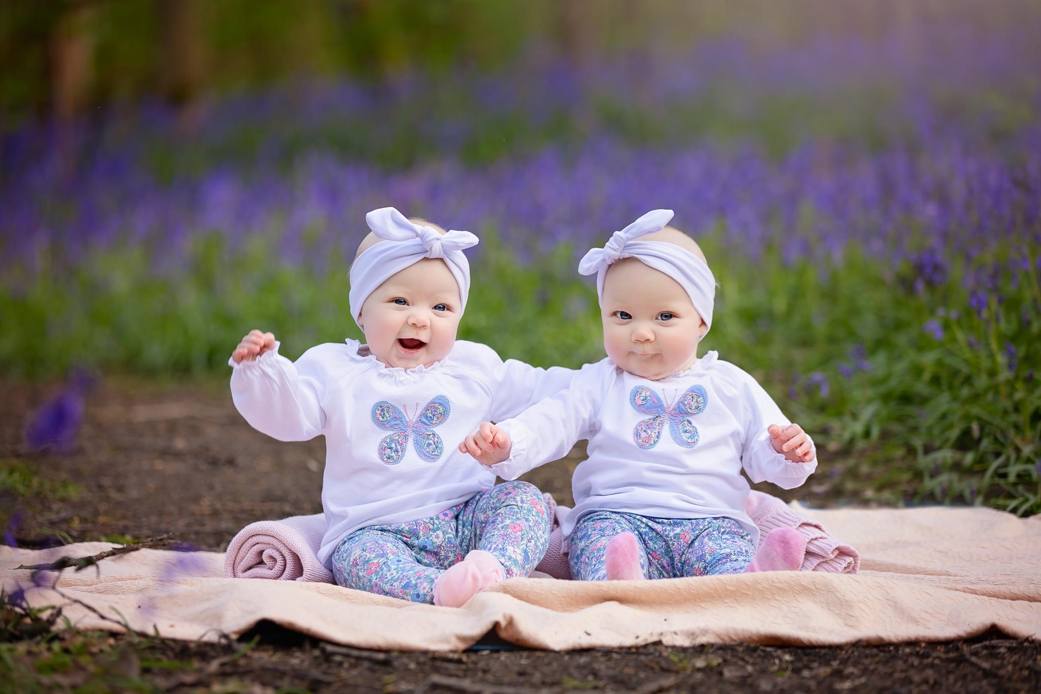 Children photographer Leeds, York, Harrogare, Bradford: twin baby girls during their sitter session in Leeds, West Yorkshire
