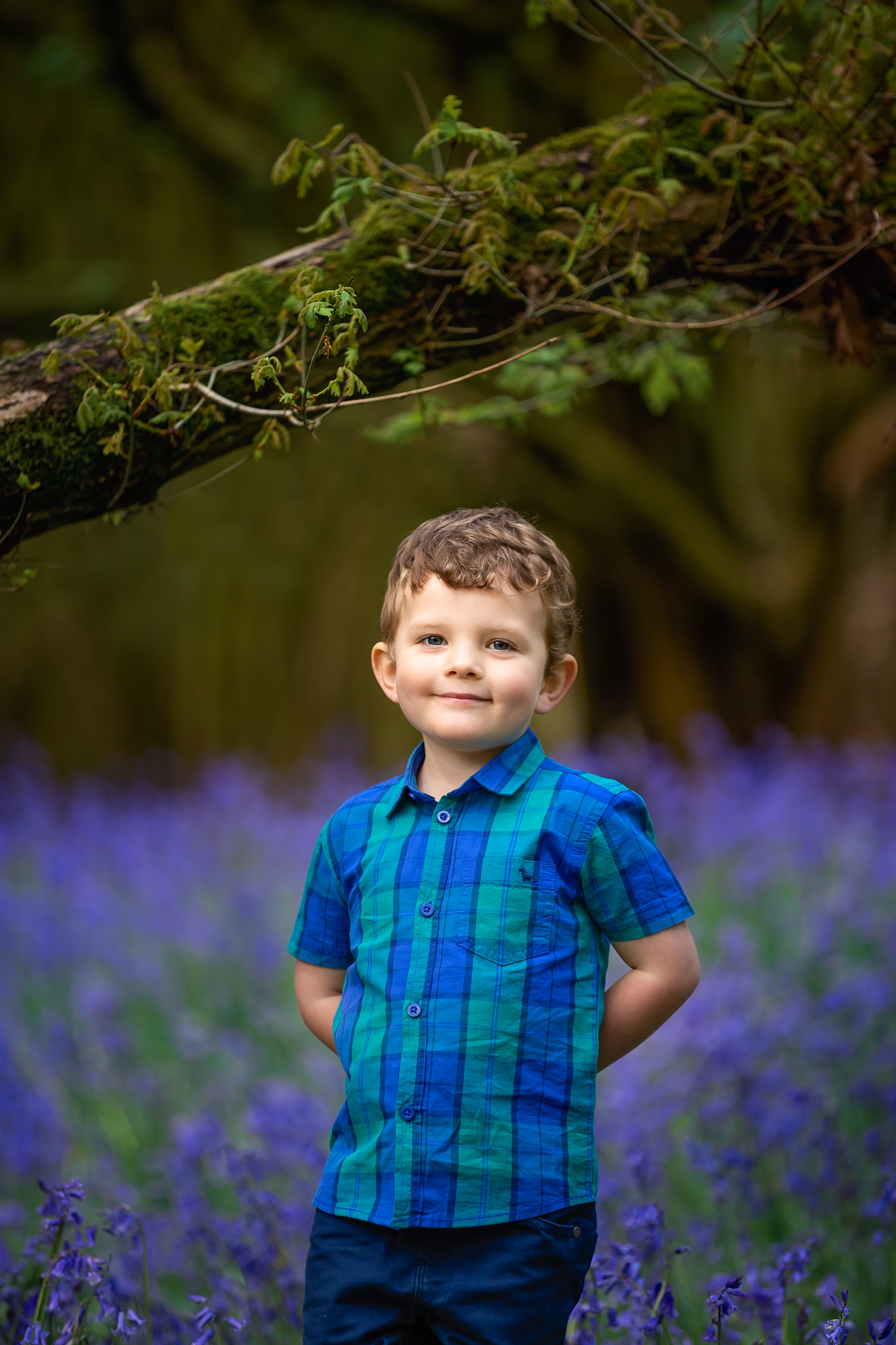 Child photography Leeds, York, Harrogare, Bradford: cute little boy during bluebell session in Leeds, Yorkshire