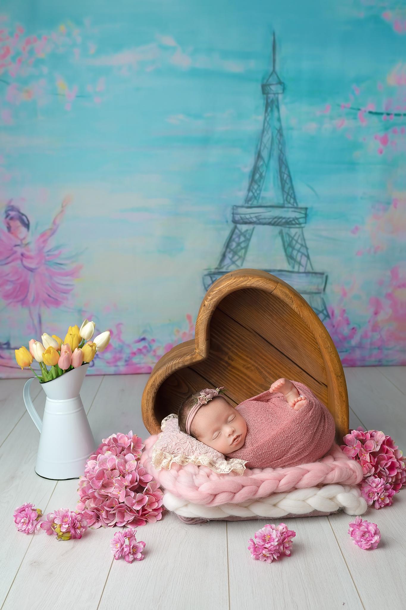Professional newborn photography Leeds-York-Bradford-Harrogate-Wakefield: newborn baby girl during her Paris themed newborn photoshoot in Leeds, Yorkshire