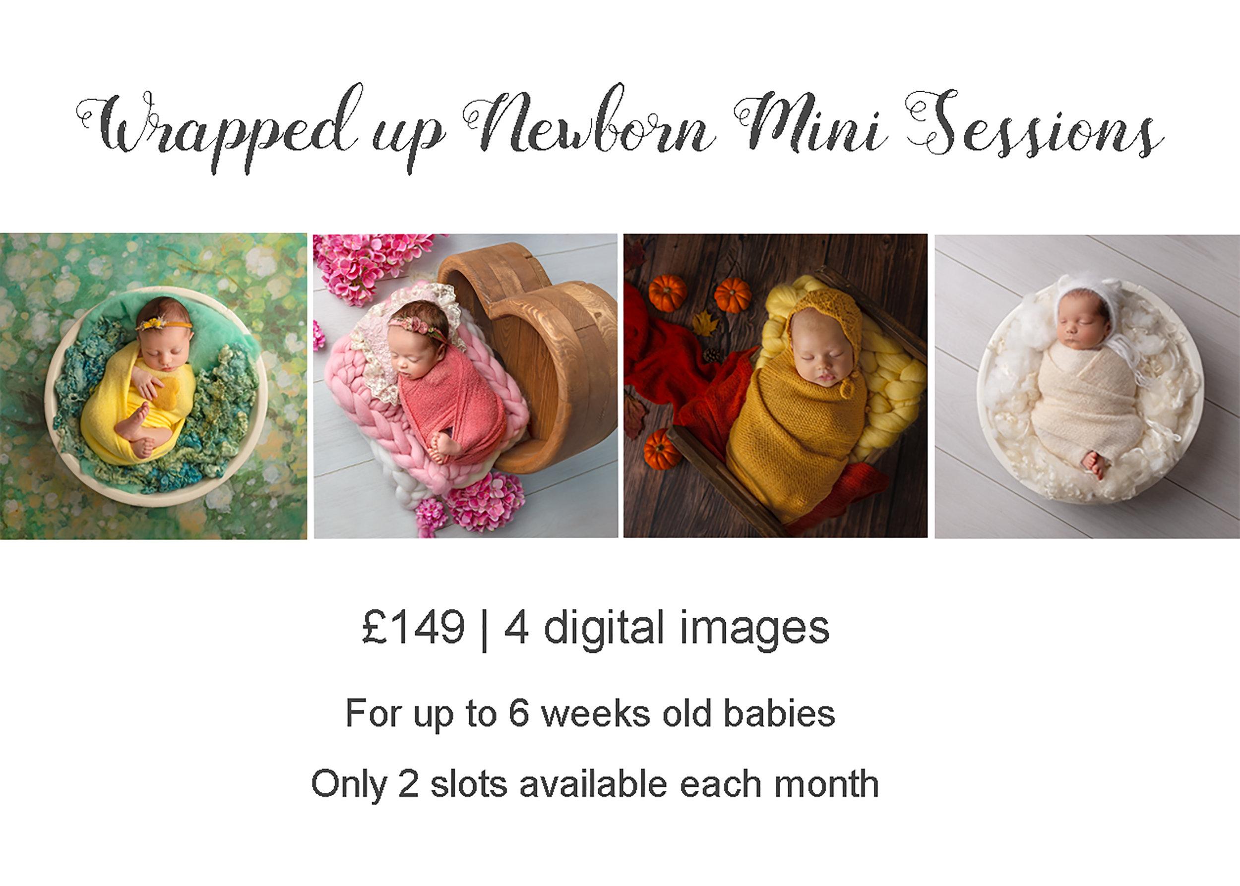 Professional newborn photography Leeds, York, Harrogate, Bradford, Wakefield: discounted Wrapped Up Newborn Mini Sessions