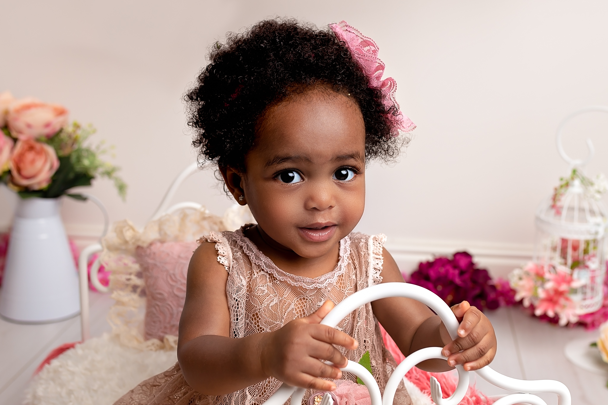 Professional baby photography Leeds, Bradford, York, Harrogate, Wakefield: close up portrait of 1 year old baby girl