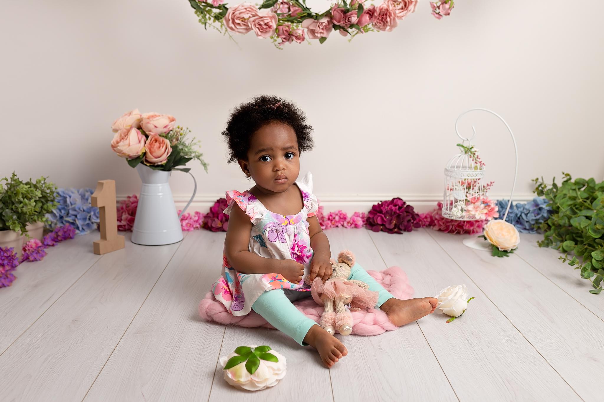 Professional baby photography Leeds, Bradford, York, Harrogate, Wakefield: portrait of 1 year old baby girl