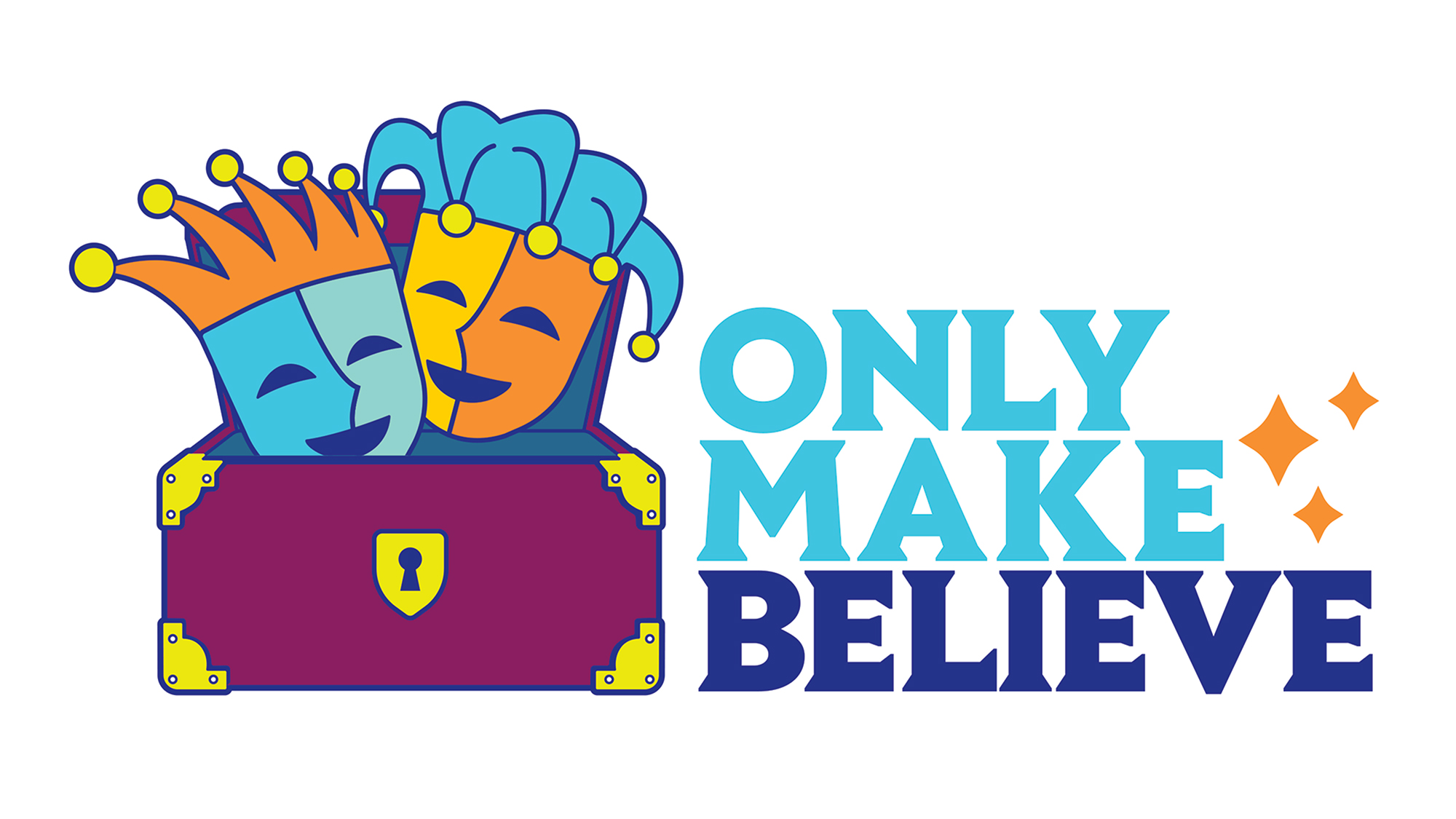 Only Make Believe logo with theatre masks and trunk