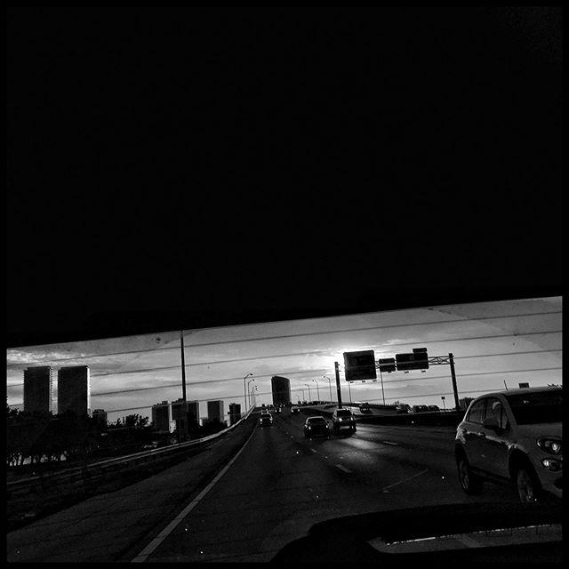 Miami, Florida. August 2019. . . #highway #sunset #trafic #florida #usa #light #skyline #back #hurricane #season #notyet #bw #driving #crazy