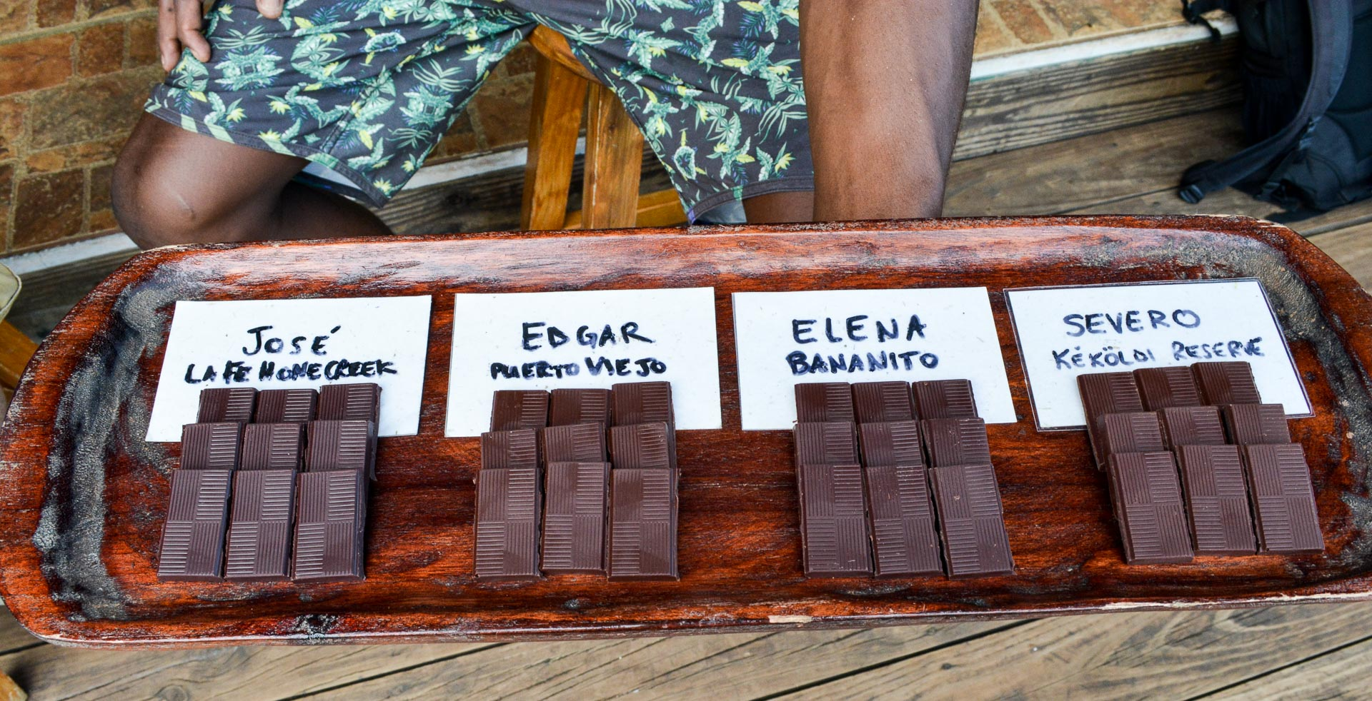 Chocolates with the same amount of sugar and processing--the only difference was the farm they came from and how the beans were fermented and dried. This taught us that not every cacao bean makes the same chocolate