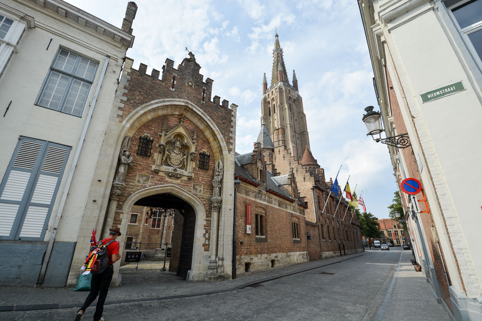 Being led near Sint-Salvatorskathedraal by our Flemish guide. This cathedral is from the 1300s and known for its Flemish artworks