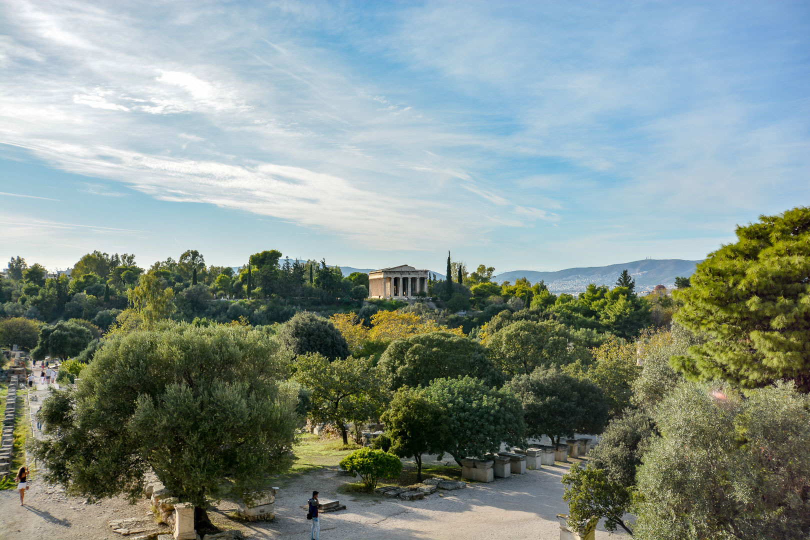 Temple of Hephaestus on the hill in the distance