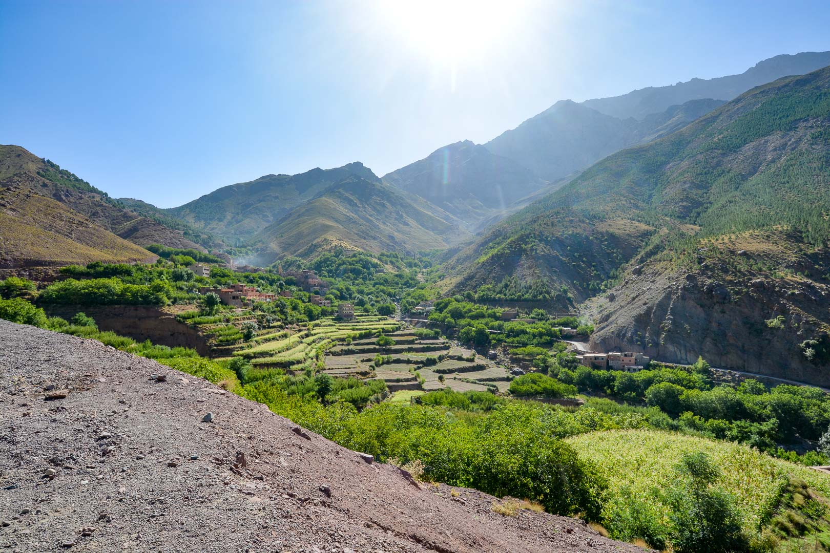 The valleys with their terraced farms are stunning oases in the dry and dusty mountains