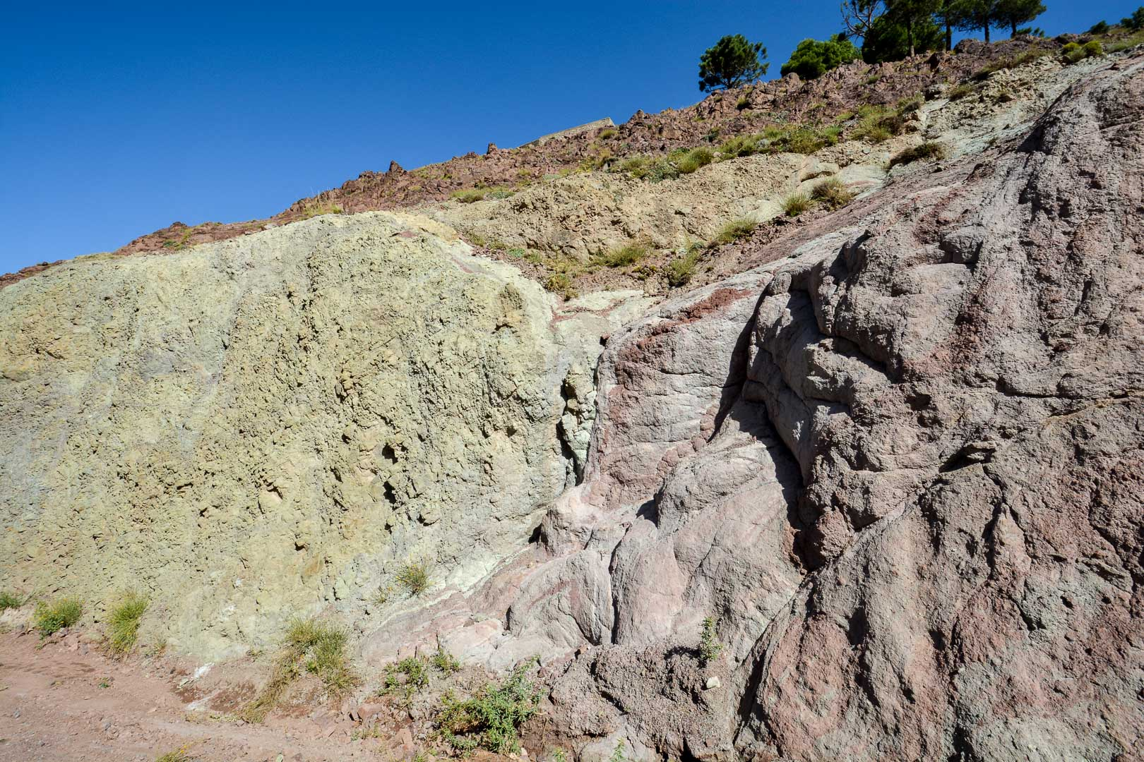 The greenish yellow rock is actually copper!