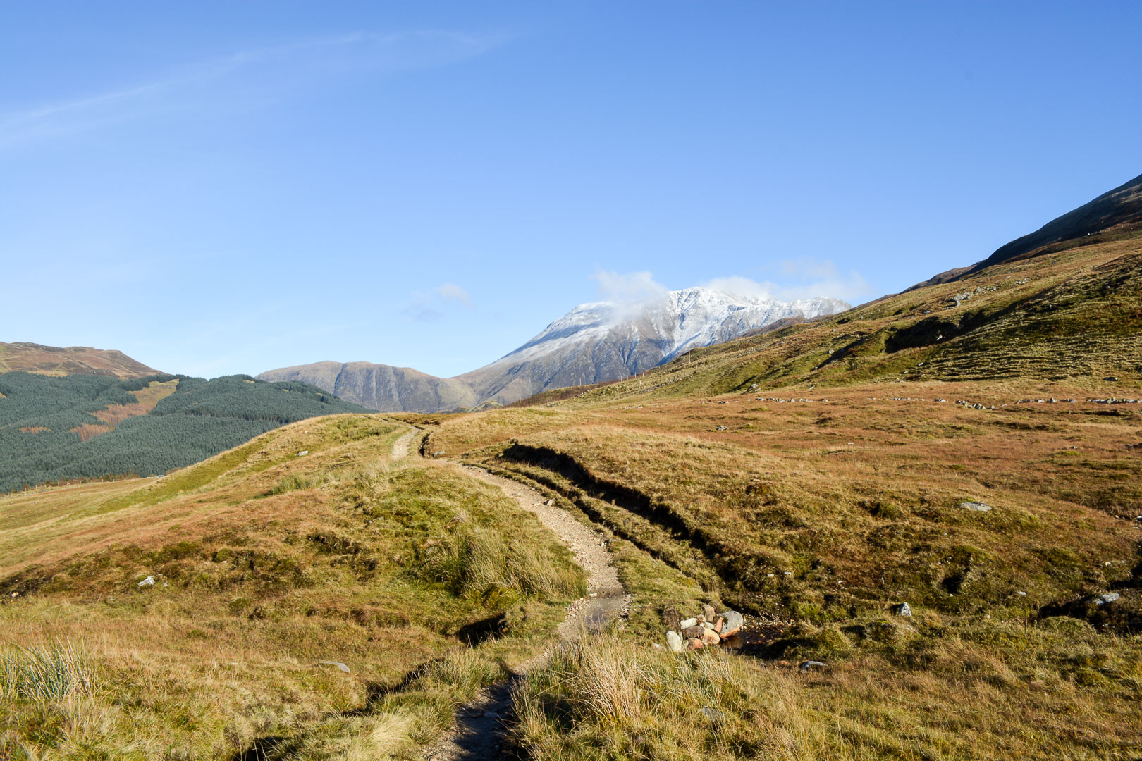 The white capped Ben Nevis tallest mountain in the UK
