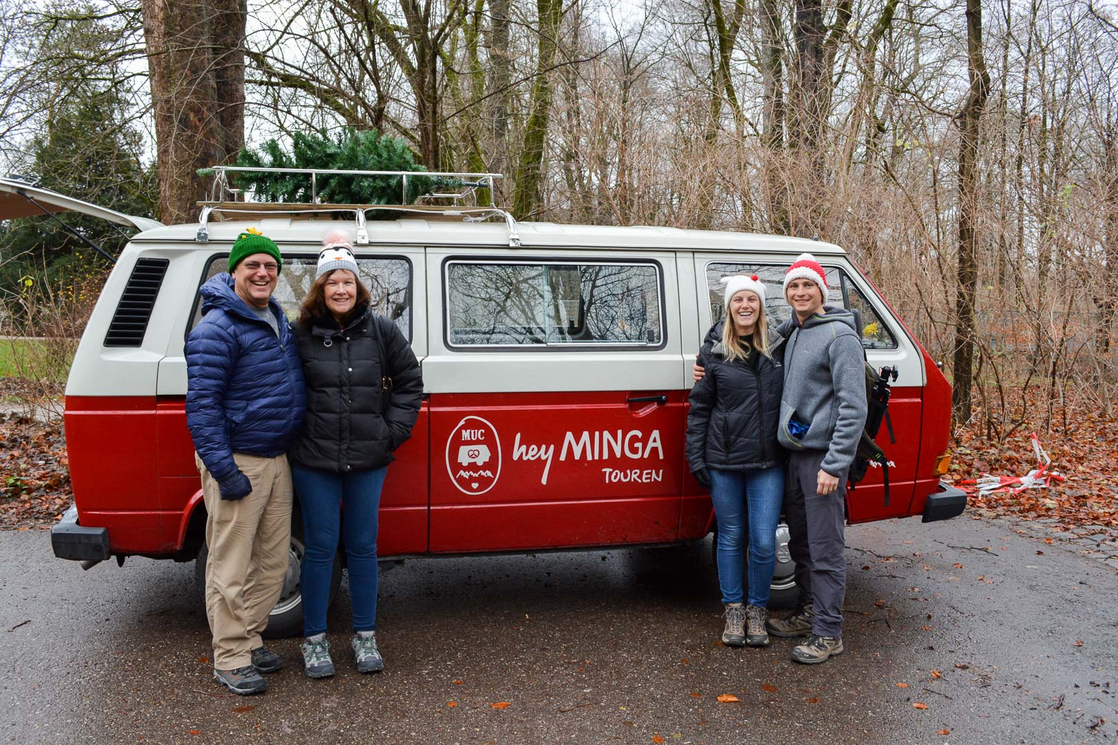 In front of Gertie, our ride for the Hey Minga Tour